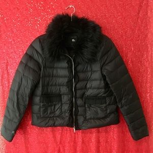 Puffy Black Jacket with Fur Collar